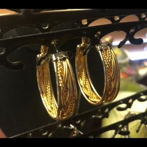 Jewelry - Gorgeous gold and silver HOOPS. 1 1/2 inch X 1/2